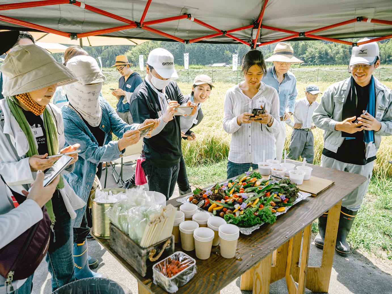福知山産野菜のバーニャカウダを撮影する参加者